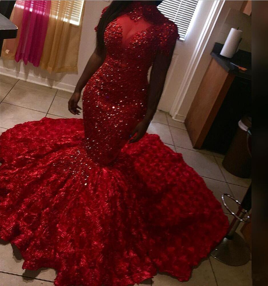 2020 african Stunning Red Mermaid Prom Dresses High Neck 3D Rose Flowers Floral Sweep Train Evening Gowns Red sequins Carpet Dresses