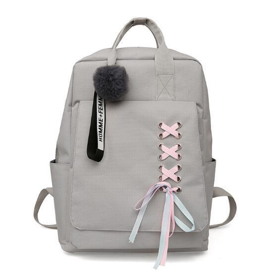 white High school students shoulder bag shoulder bag female campus backpack leisure bag