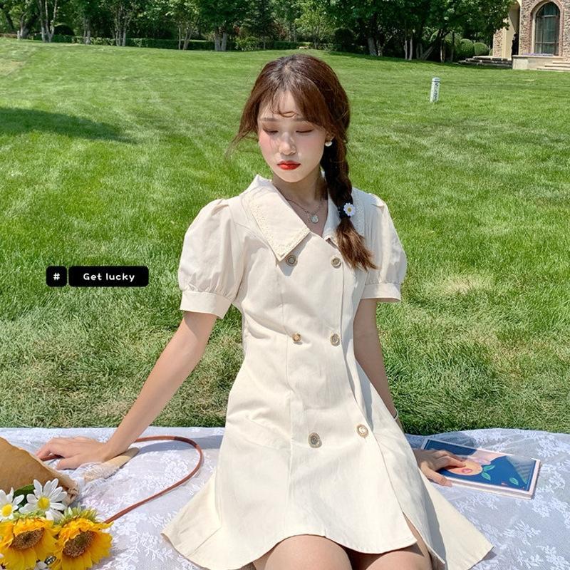 FtchR 2020 Летний новый французский темперамент талии похудение юбка Platycodon grandiflorum юбка двубортный пузырь рукав Тонкий платье платье ж