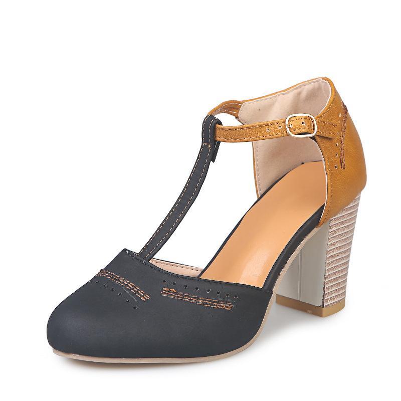 Yaz 2020 Yüksek topuk Yuvarlak Burun Kalın Topuk Patlama Modeli T-kayışı, Kemer Toka, Kalın Topuk, Toka, Renk Kadın sandalet Eşleştirme