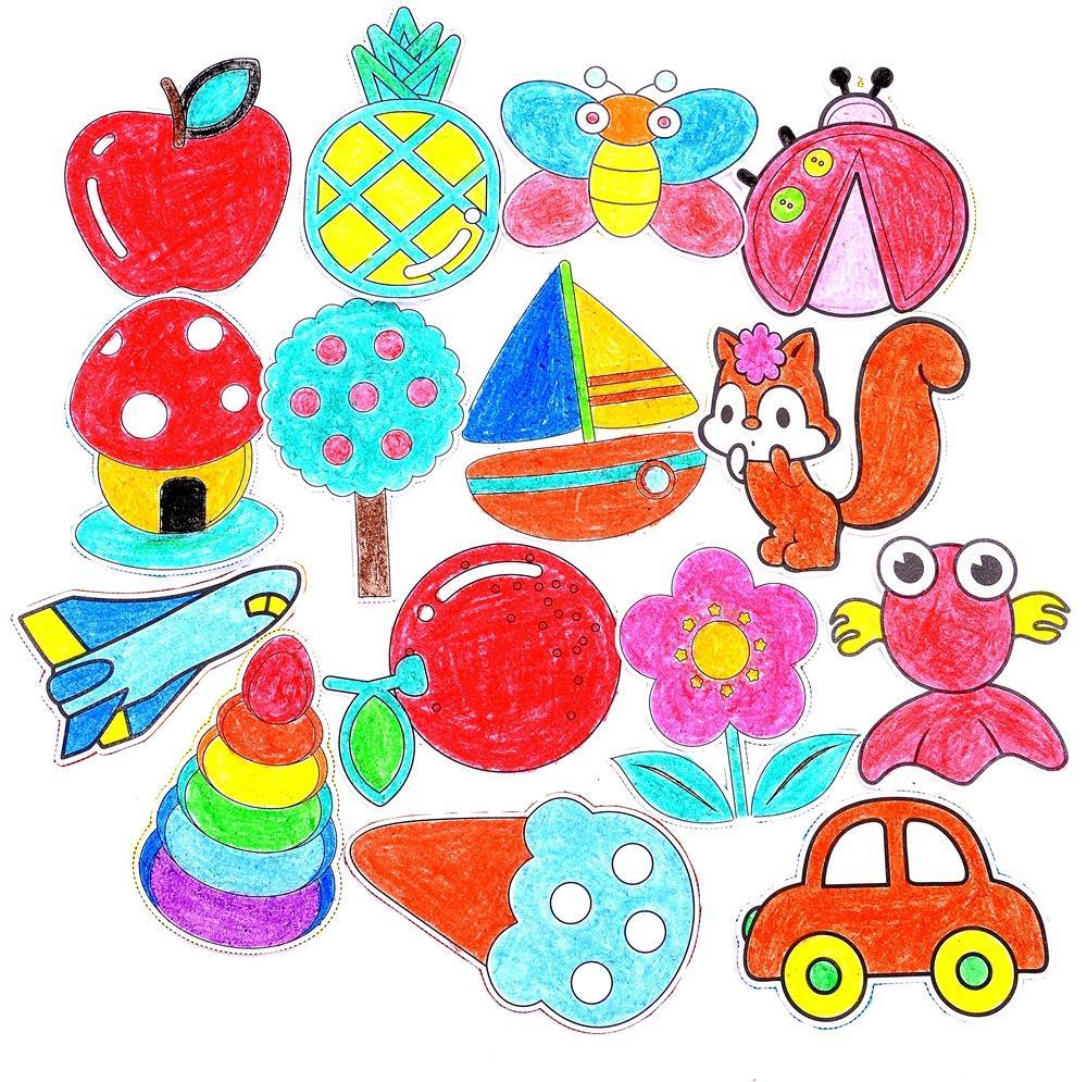 60pcs / set Kinder Cartoon Farbe Papier falten und Schneiden Spielzeug Kinder Kingergarden Kunsthandwerk DIY pädagogisches Spielzeug GYH