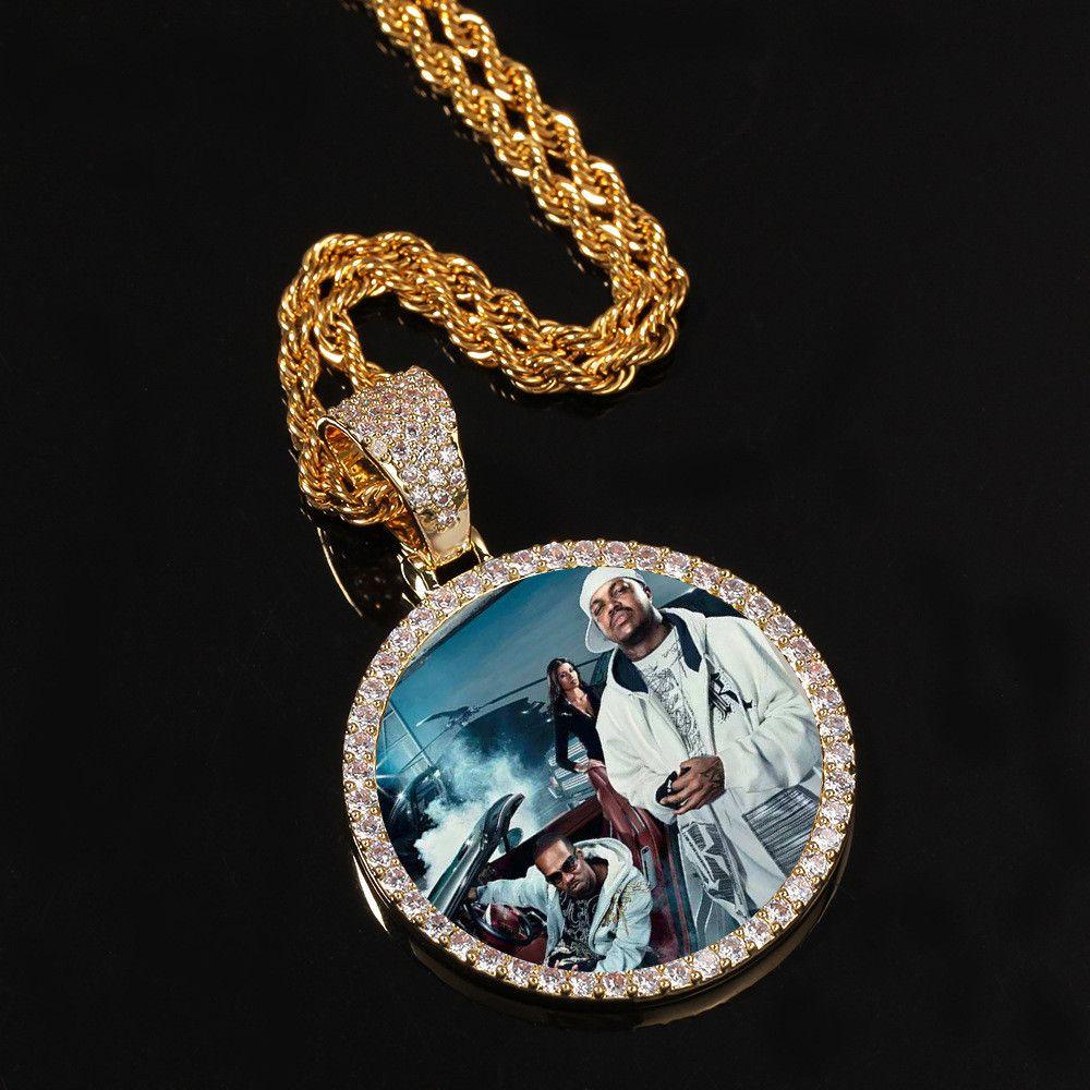 Altın Custom Made Fotoğraf ile kanatları Madalyonlar kolye kolye Kübik Zirkon Erkek Hip hop Takı