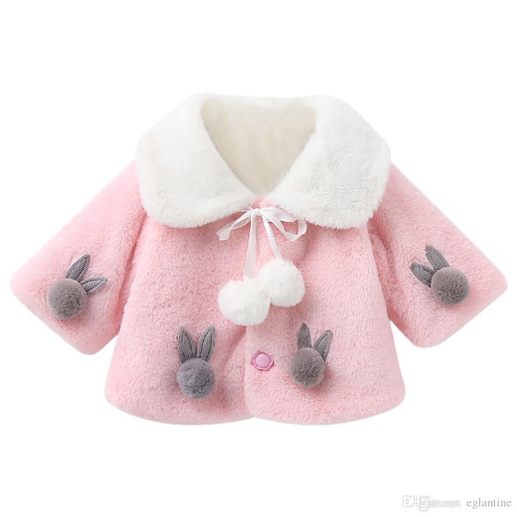 Neue Winter Mädchen Pelzmantel Baby Mädchen Faux Pelzjacken und Mäntel Dicke Warme Parka Kinder Oberbekleidung Kleidung Mädchen Niedlichen Kaninchenmantel