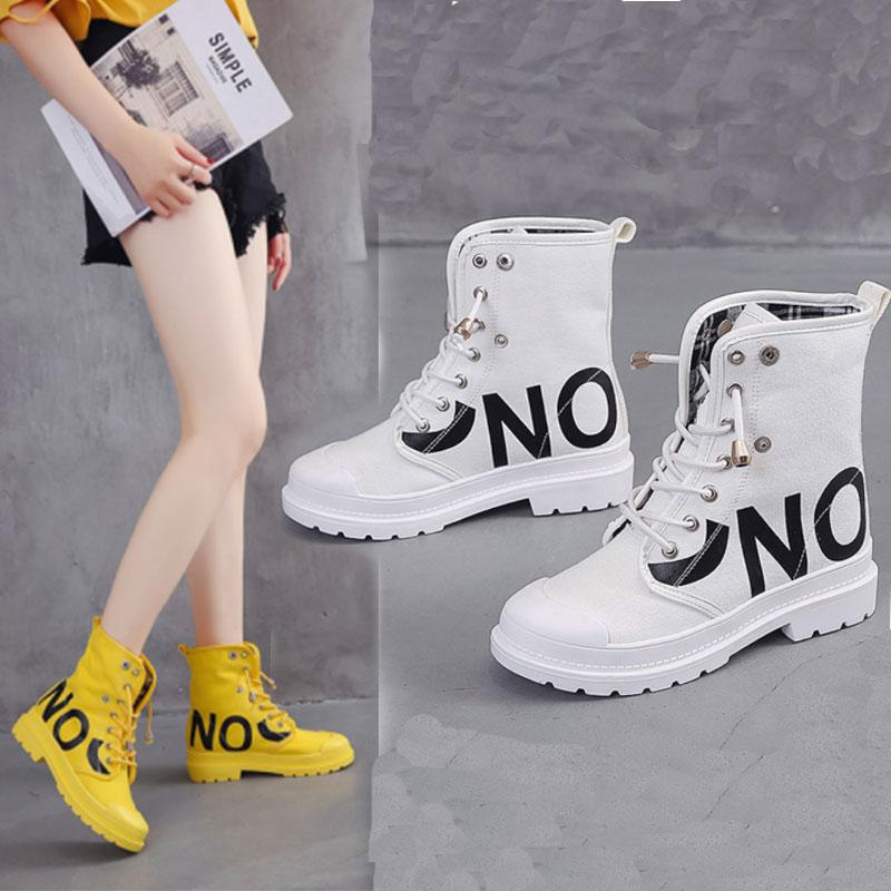 Summer Women Martin Boots Breathable Round Toe Ladies Flat Boots Net Red Increased Graffiti Denim Solid Rubber Female Flat Boots