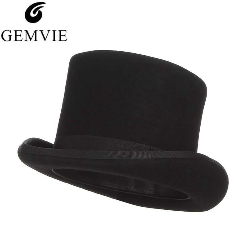 Gemvie 13.5 cm Costume Top Hat Para Homens Fedoras De Lã Para As Mulheres Mad Hatter Chapeleiro Chapéu Do Cavalheiro Chapéu De Casamento Derby Mágico Cap Y19070503