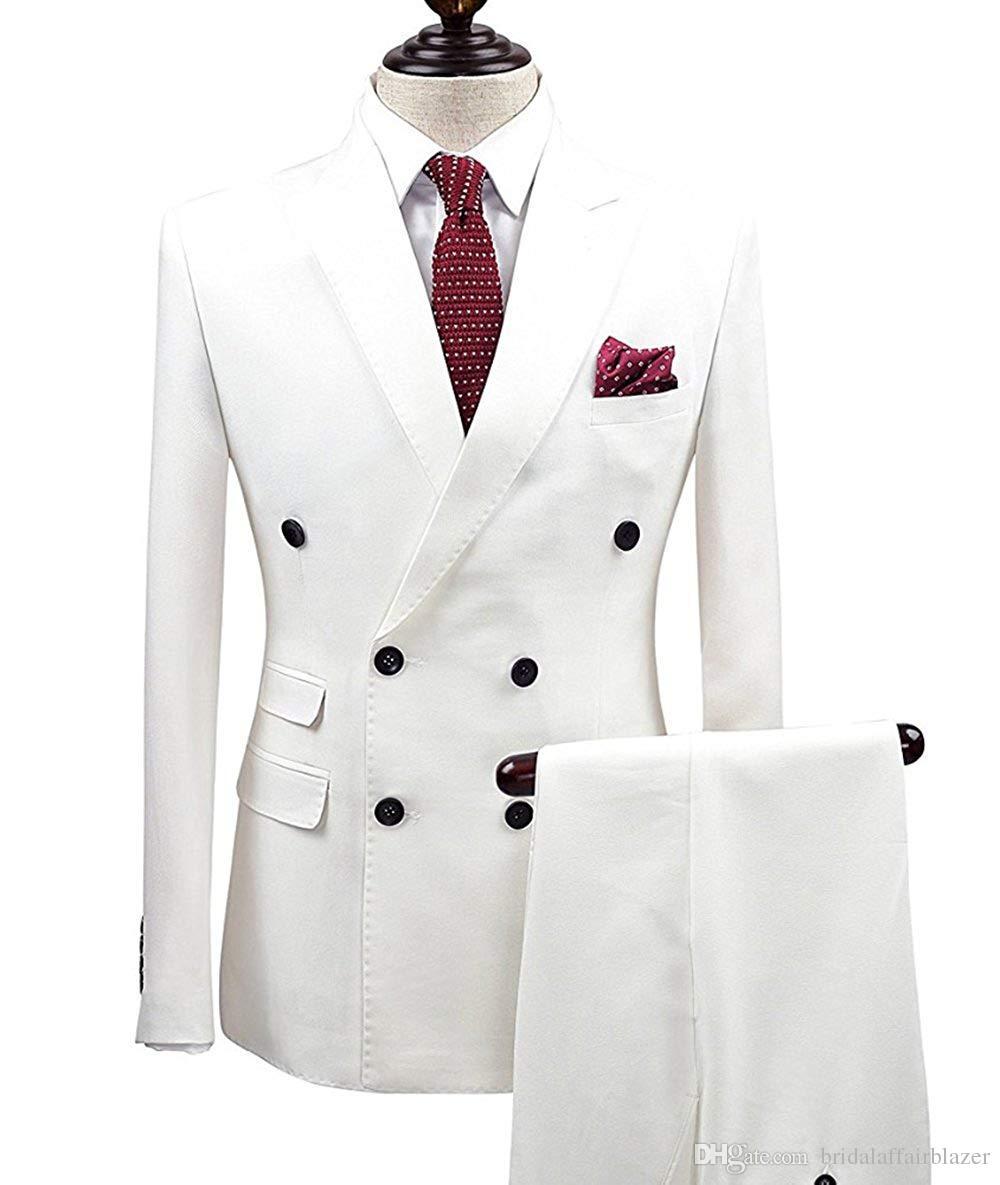 2 adet Wgite Çift Breasted Katı 2-Adet Suit Slim Fit Notch Yaka Bir Düğme Smokin Ceket Pantolon Set Erkek damatlıklarında (Blazer + Pant)