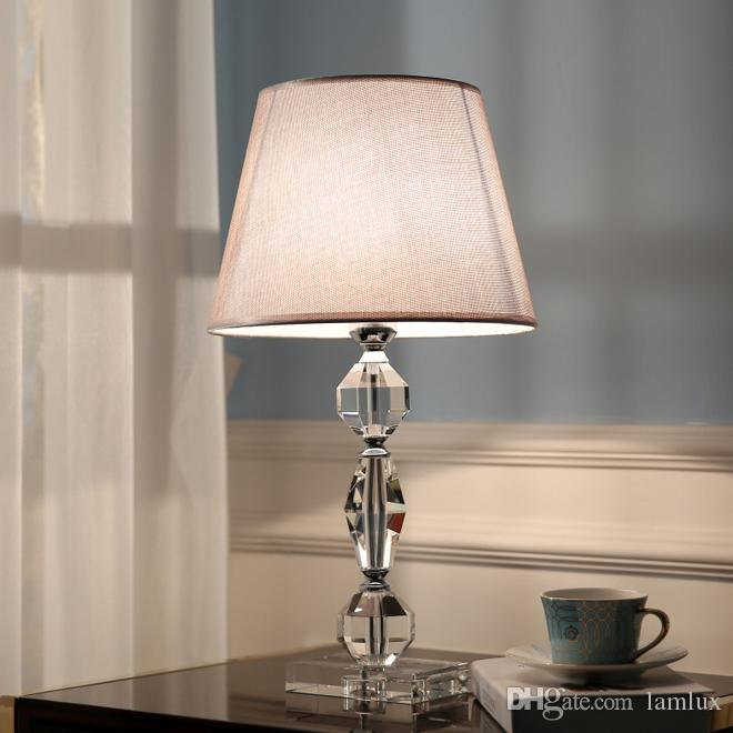 2020 American Crystal Table Lamps Fabric Lampshade Desk Light Luxury Hotel Desk Lighting Bedroom Study Room Bedside Modern Led Table Lights From Lamlux 275 94 Dhgate Com
