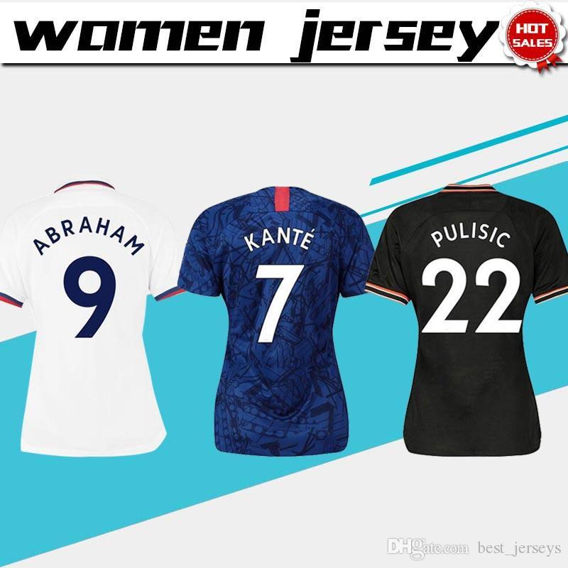 여성 유니폼 2020 # 7 KANTE # 22 PULISIC 축구 유니폼 19/20 여성 집에 파란색 축구 셔츠 멀리 백인 여자 축구 유니폼 셋째 검은 색을