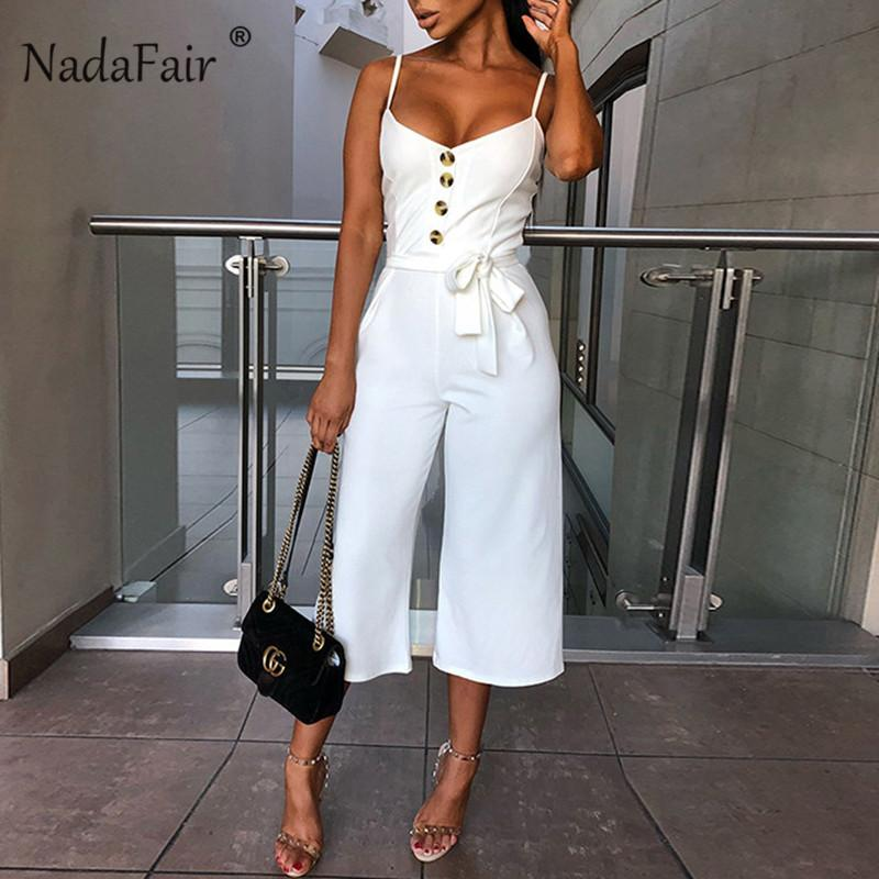 Nadafair Backless Sexy Rompers Womens Jumpsuit Belt Elegant Bandage Plus Size Black White Jumpsuit Overalls For Woman Streetwear Y200106