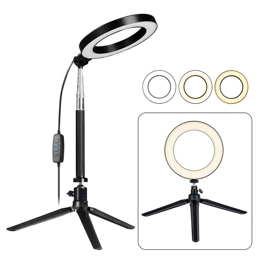 ضوء حلقة LED مع عصا حامل ثلاثي القوائم قابلة للتمديد ، مصباح حلقي أرضي / أرضي بقطر 6 بوصات لسيلفي ، مكياج ، بث مباشر