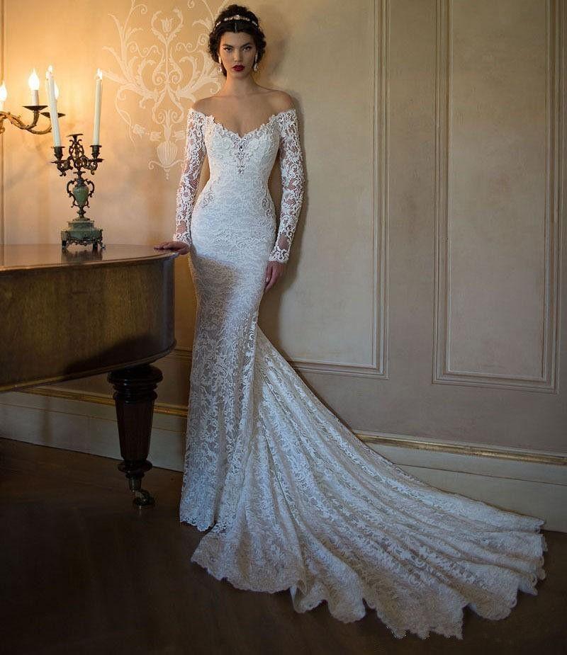 Scollo a V maniche lunghe Backless Sexy Vintage Mermaid lungo treno Abiti da sposa 2019 Nuovo affascinante pizzo bianco abiti da sposa abiti da festa