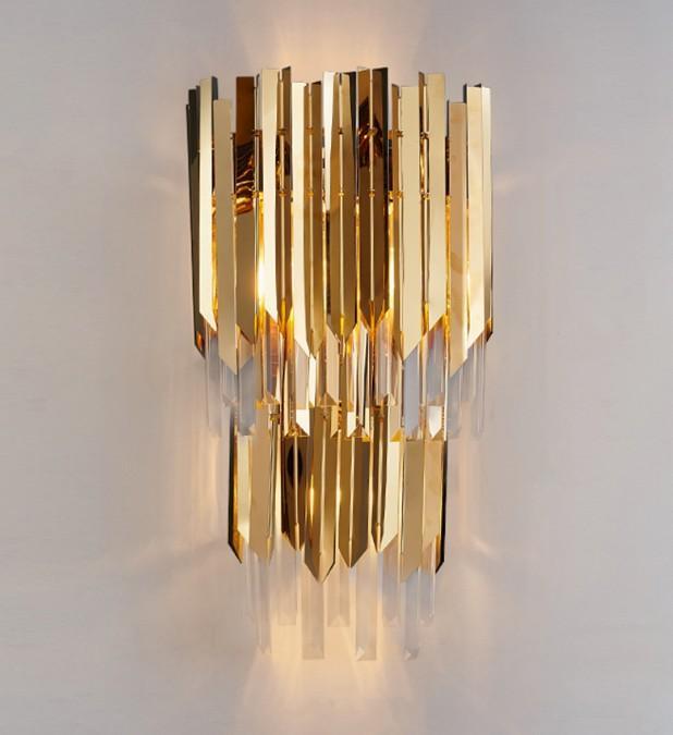 Modern LED Kristal Duvar Lambası Lüks Altın Işık Paslanmaz Çelik Duvar Aplik AC90-260 V Asılı Ev Dekorasyon Kristal Lambası LLFA