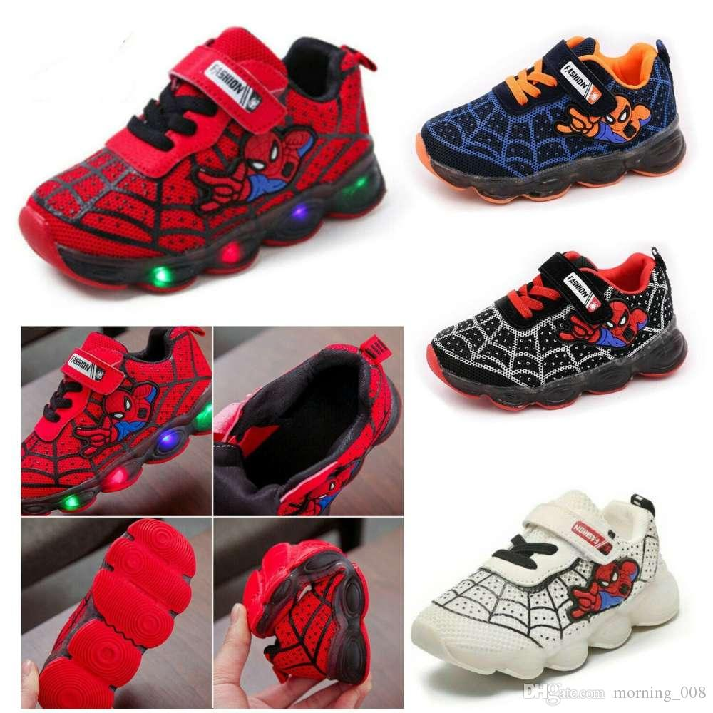Spiderman Kids LED Trainers Flashing Light Up Sports Sneakers Boys Girls Glowing