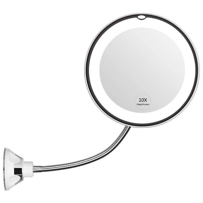 Espejo de maquillaje iluminado con LED de aumento de cuello de cisne flexible 10x, espejo de vanidad de aumento de baño con ventosa, recorrido giratorio de 360 grados