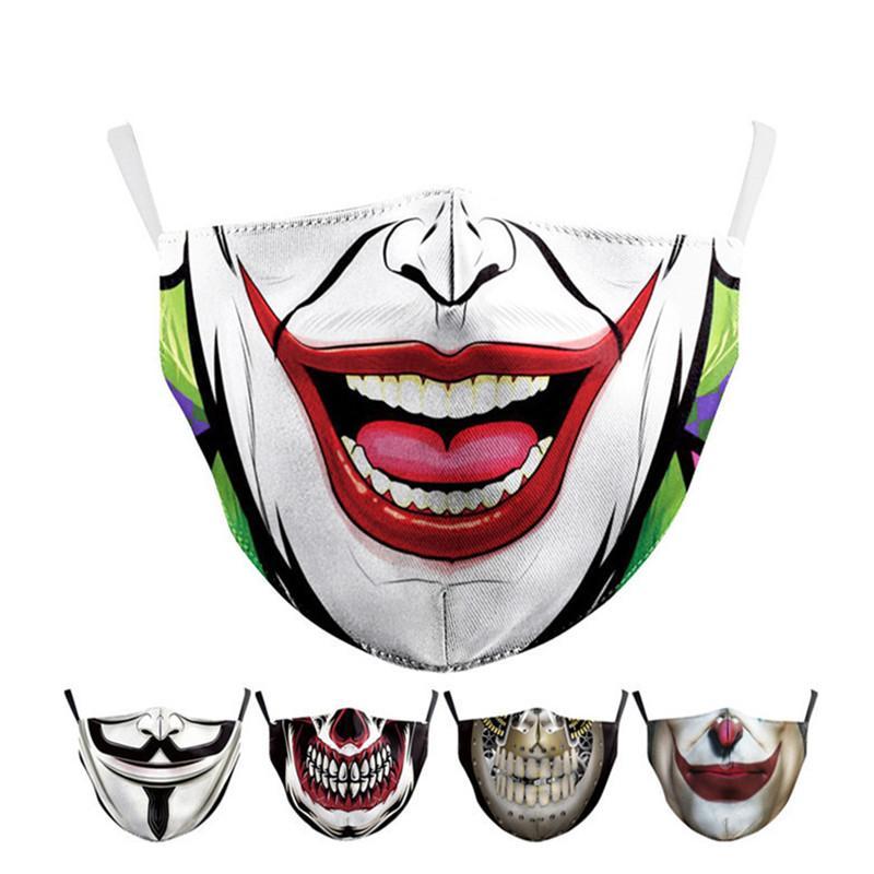 Fashion Designer Face Masks Halloween Digital Print Masks Men Masquerade Party Joker Face Mask Washable Reusable Dustproof Masks 8 Style INS