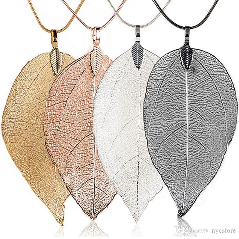 Fashion Sweater Coat Necklaces Ladies Girls Special Leaves Leaf Pendant Necklace Long Chain Jewelry for Womens Gift