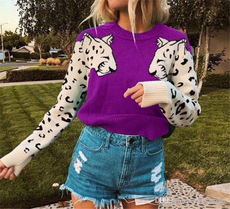 Padrão Leopard Mulher designer Camisolas Moda manga painéis capuz do pescoço de grupo das mulheres Camisolas Casual fêmeas roupa