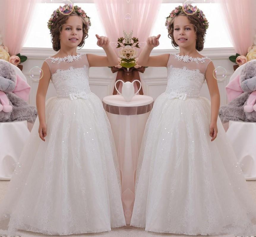 Branca Flor vestidos da menina Lantejoulas Lace vestidos de baile de Natal para casamento Ruched Adorável Bow Sash macio menina Pageant Vestidos