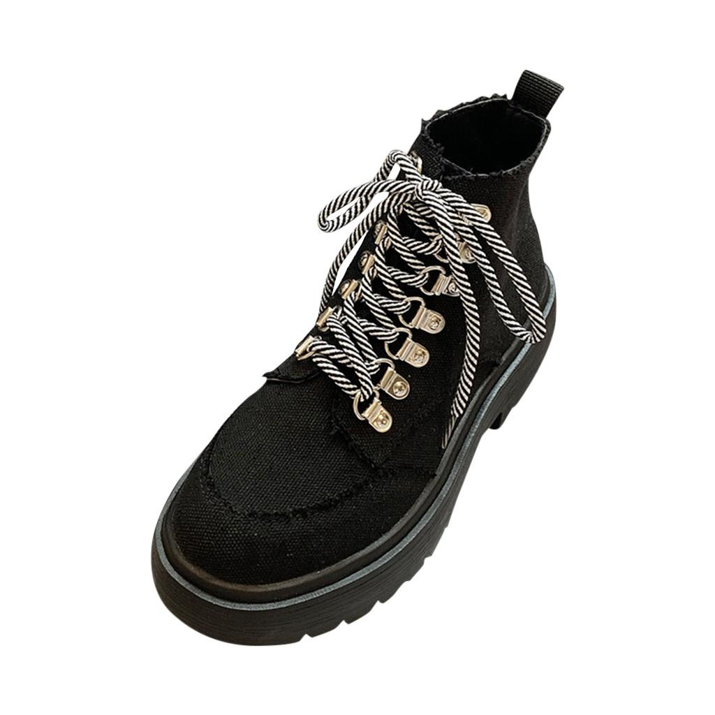 de invierno de las mujeres ata para arriba la tela superior causales lienzo botas frescas Plataformas de arranque