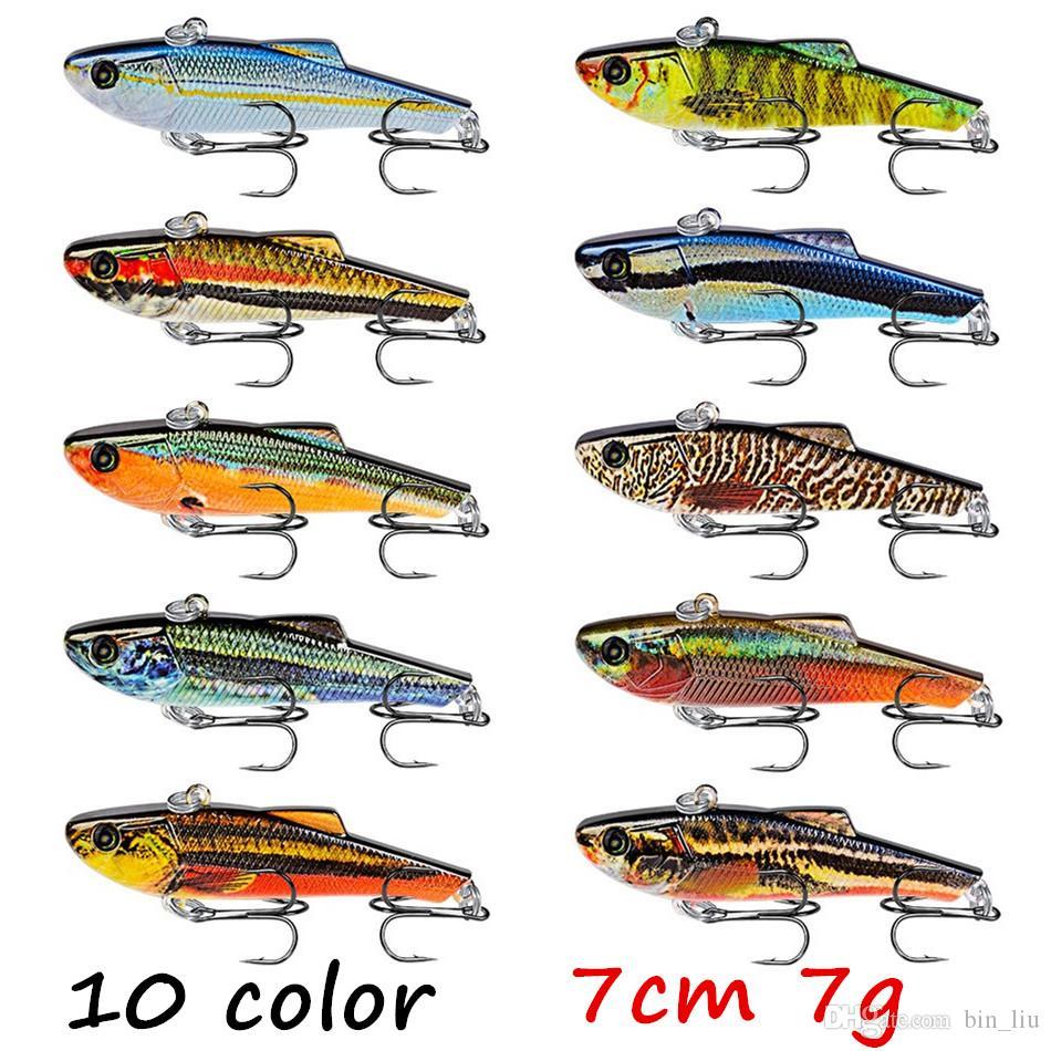 10 шт. / лот 10 цветов смешанные 3D глаза VIB пластиковые жесткие приманки приманки 7 см 7 г 8# рыболовные крючки BL_23