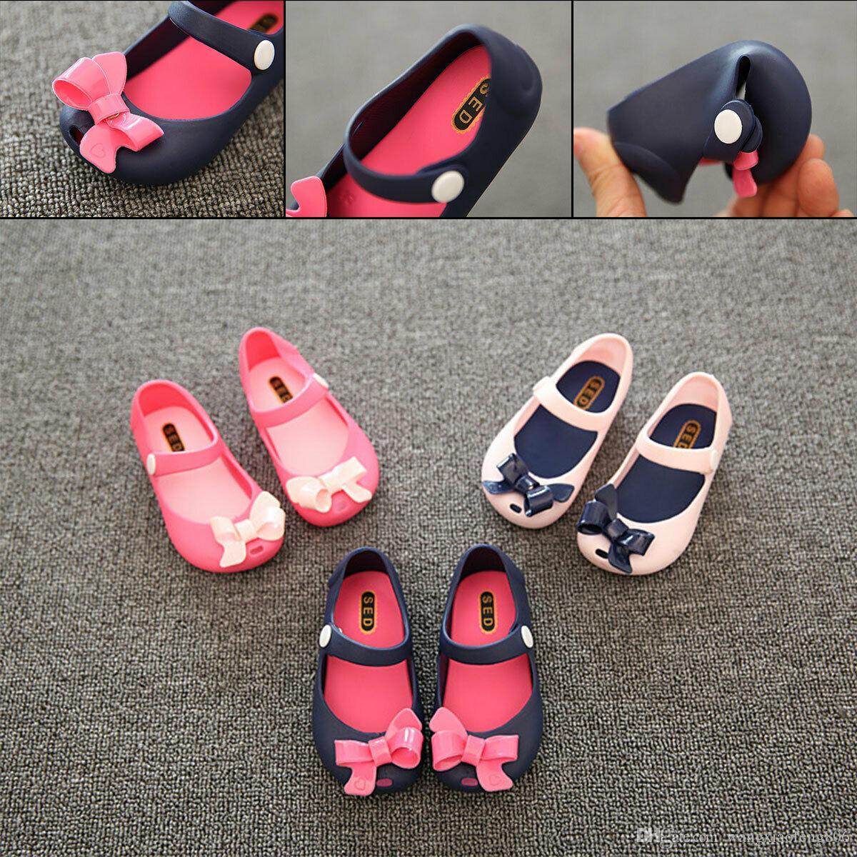 2019 키즈 베이비 여름 신발 아동 샌들 아기 소녀 공주 신발 샌들 미끄럼 플라스틱 활 버클 젤리 신발 1-6Y