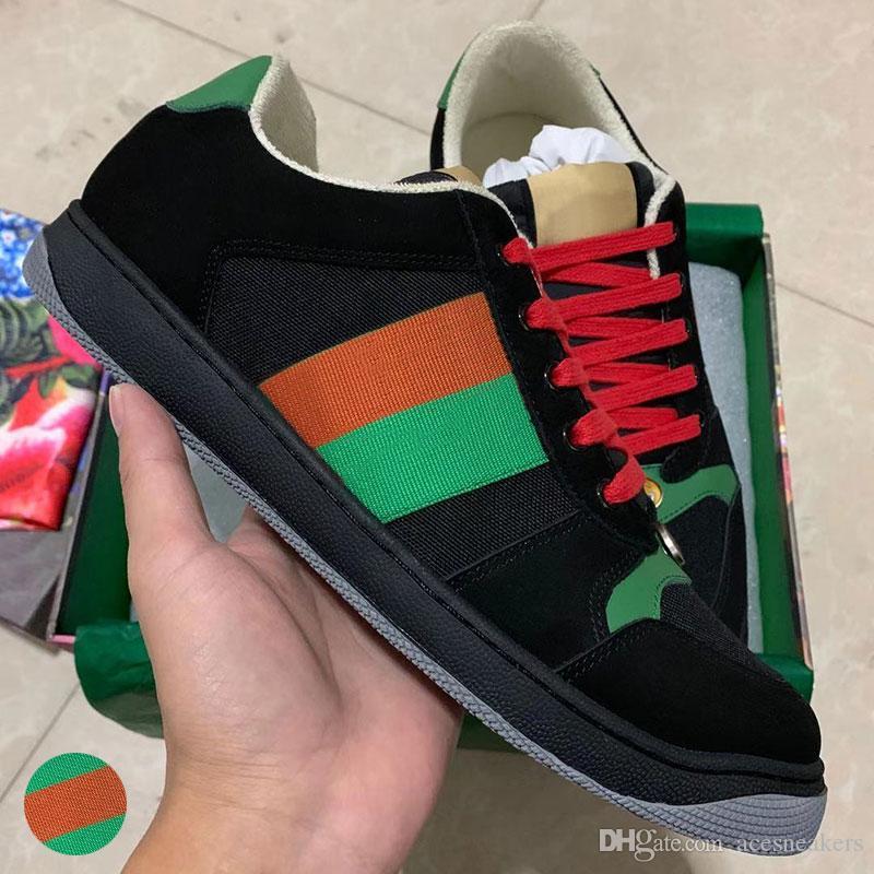 Beste Qualität Mann Luxus Schmutzige Designer Schuhe aus echtem Leder Screener Designer Sneaker New ACE gestickten Erdbeere Freizeitschuhe für Frauen