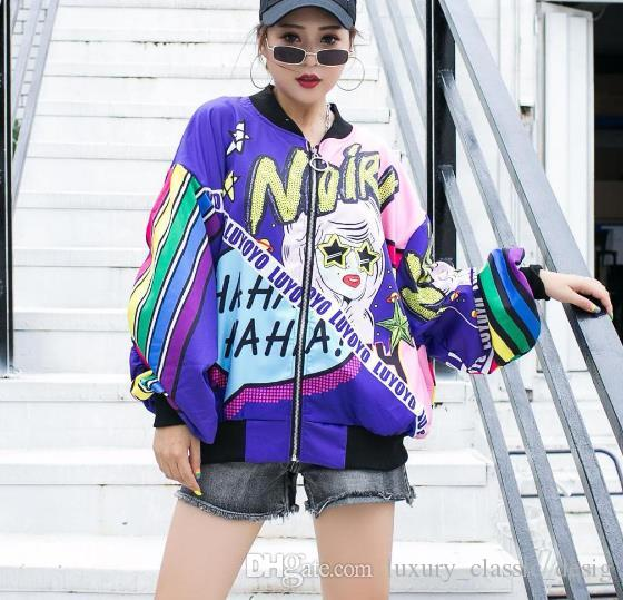 New Fashion Printing Jacket Women Loose Baseball Uniform Female Bomber Jacket Long Sleeve Casual Basic Coat Women's Jackets Girl