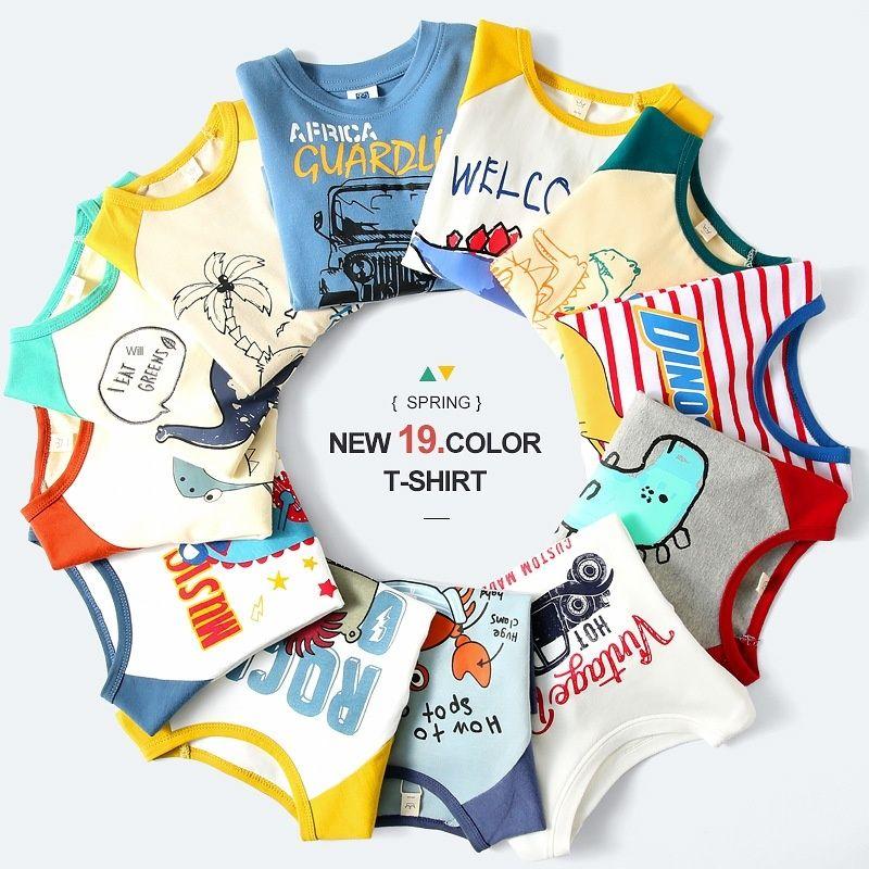 T-shirt dos meninos manga longa estilo estrangeira camisa de algodão puro base de impressão dinossauro dos desenhos animados correio tidePackage de 2020 Outono Crianças