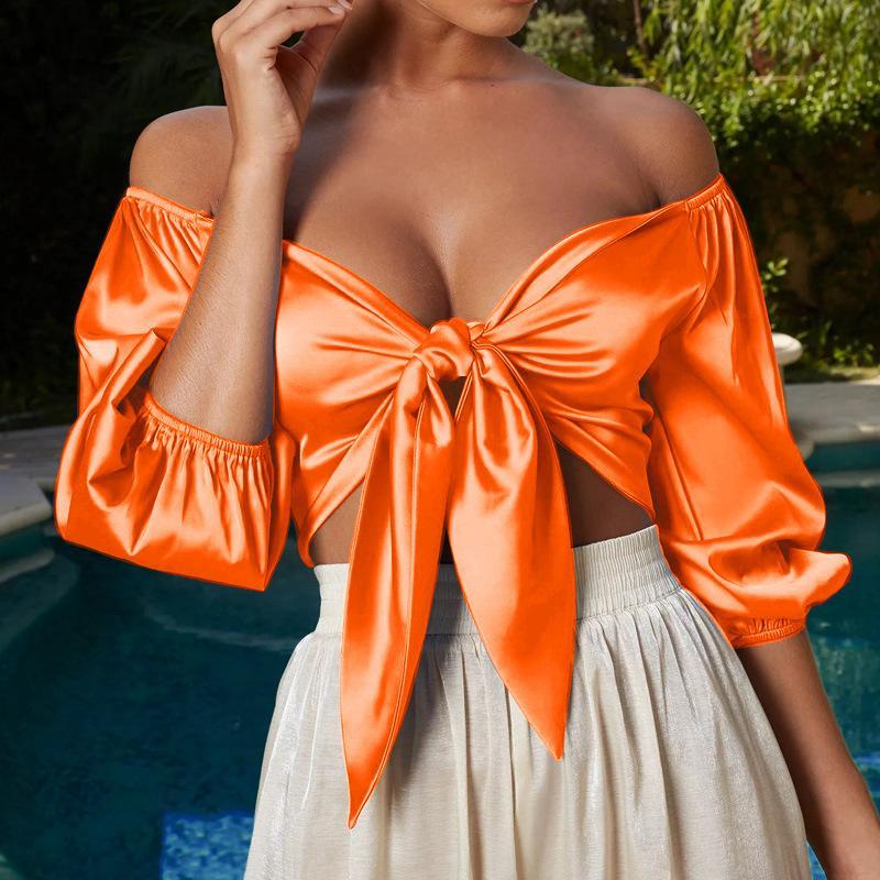 2020 bowknot Sexy Women Silk Crop Tops Lantern solides manches en satin Tops Chic col en V Encolure été recadrée à la mode