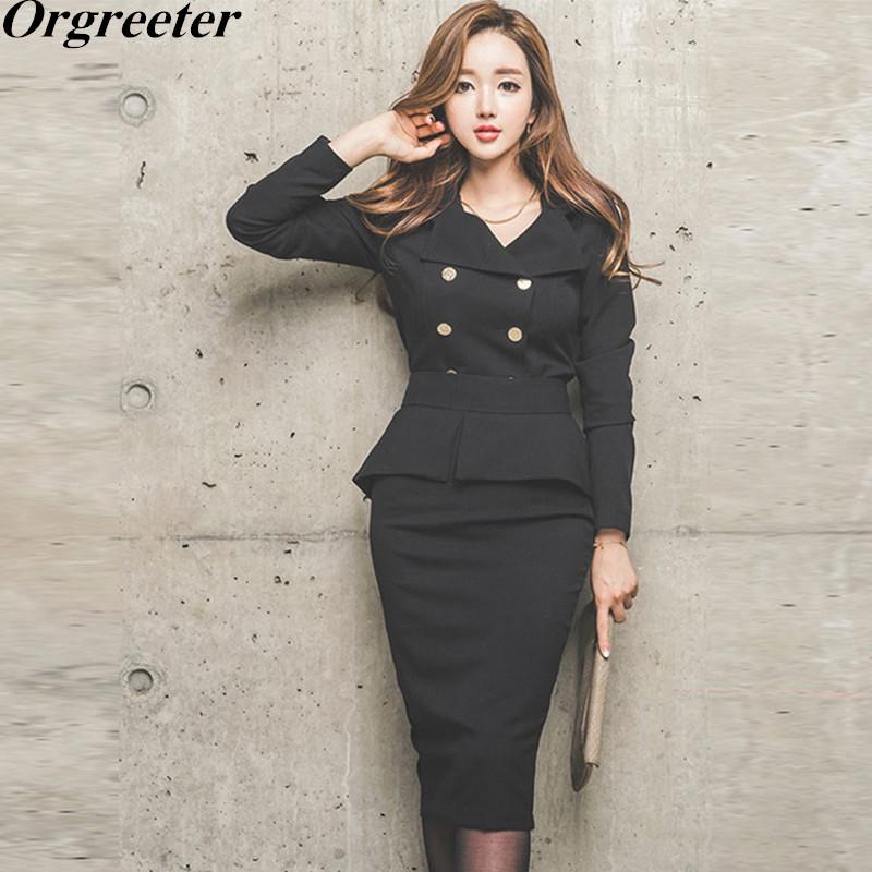 Business Work 2 piece sets Womens 2018 New Autumn Double-breasted Lapel Crop Tops And Ruffled Split Sheath Pencil Skirt Set