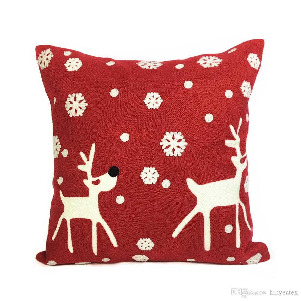 Christmas Holiday Embroidery Red White Deers Pillow Cover Kids Gift Home Sofa Cushion Cover Decorative Pillow Case 45 x 45cm Sell by Piece
