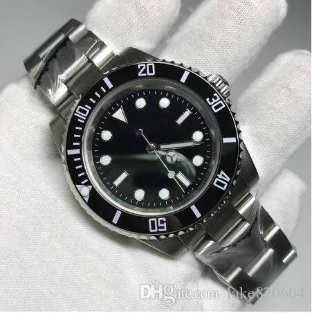 Envío de la gota de 40 mm reloj negro hombre de cerámica reloj de cristal de zafiro bisel automática deportiva de los hombres relojes orignal Glide Lock Corchete hora de la moda