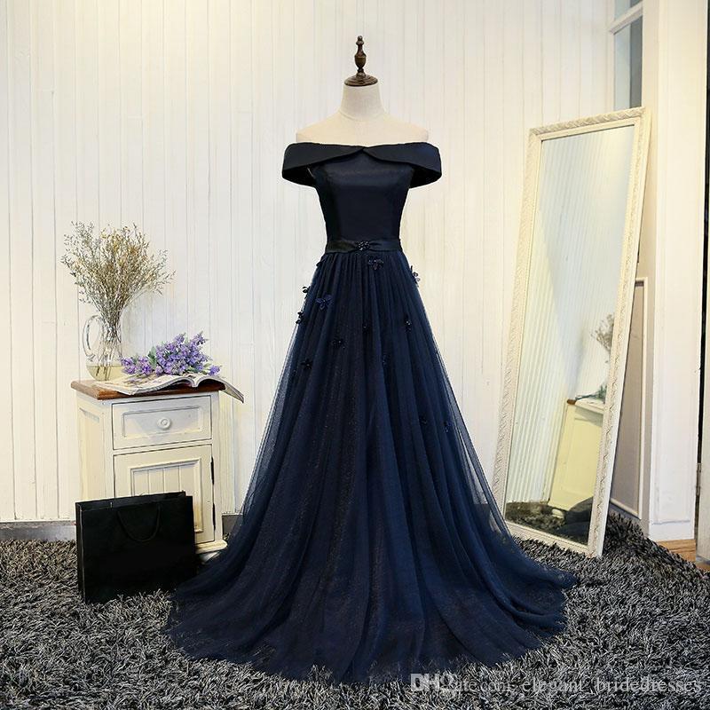 2019 Elegant Dark Navy Blue Tulle Long Evening Dresses With 3D Flower Evening Gowns Boat Neck Off Shoulder 2017 Vestido De Noche
