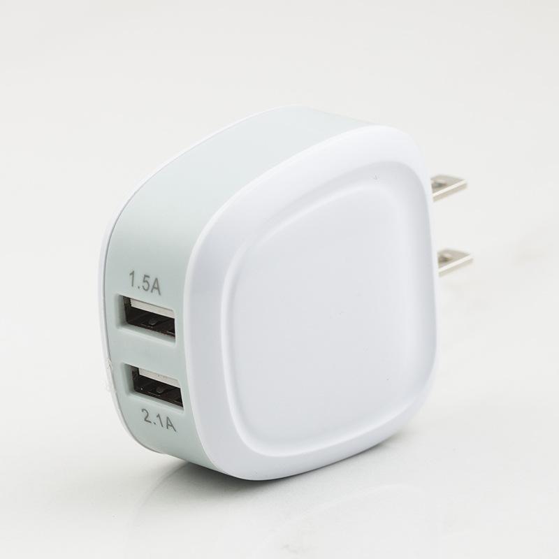 5V Téléphone Adaptateur chargeur de téléphone double USB de charge Plug-Head Universal Mobile Phone Chargeurs Direct pour Couleurs US Noir Blanc
