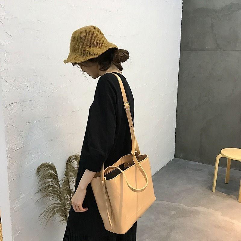 Einfach und vielseitig Frauen-Schulter Umhängetasche Platz mit großer Kapazität Eimer Tasche lässig modernen tragbaren weiblich