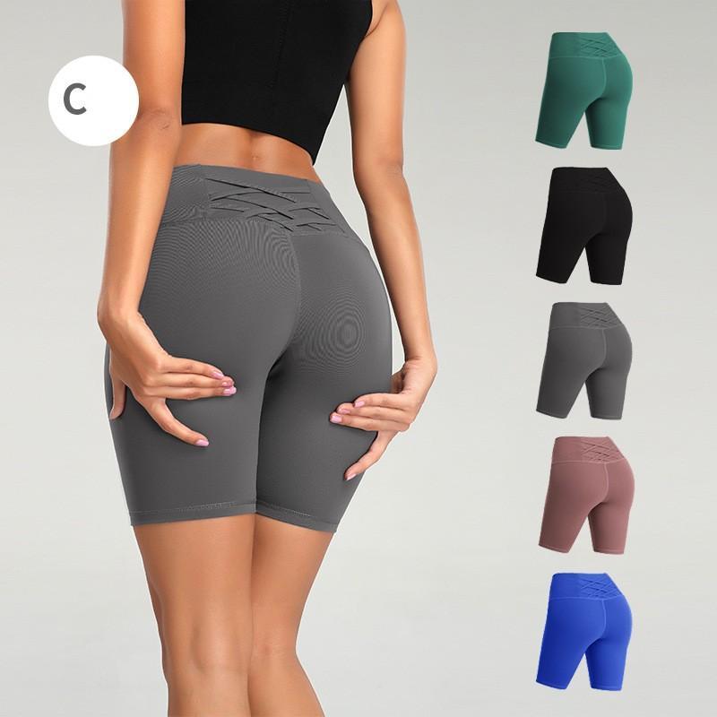 Yüksek Bel Kadınlar yoga şort Düz renk Spor Salonu Giyim şort Koşu Tozluklar Elastik Spor Lady Genel olarak pantolon