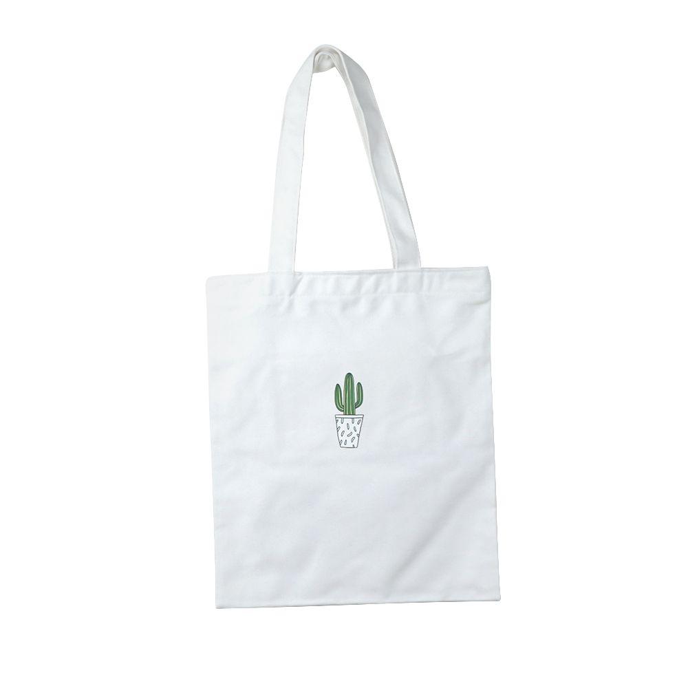 Zippered Simple Design Print Cactus Women Canvas Eco Shopping Tote Shoulder Bag Grocery Handbags Girls School Handbag