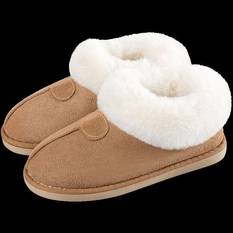 botas zapatos de mujer zapatos de los deslizadores de invierno Plus Piel Diapositivas de costura plana para la muchacha felpa Gamuza mantener a las mujeres ocasionales de Rosa cálido