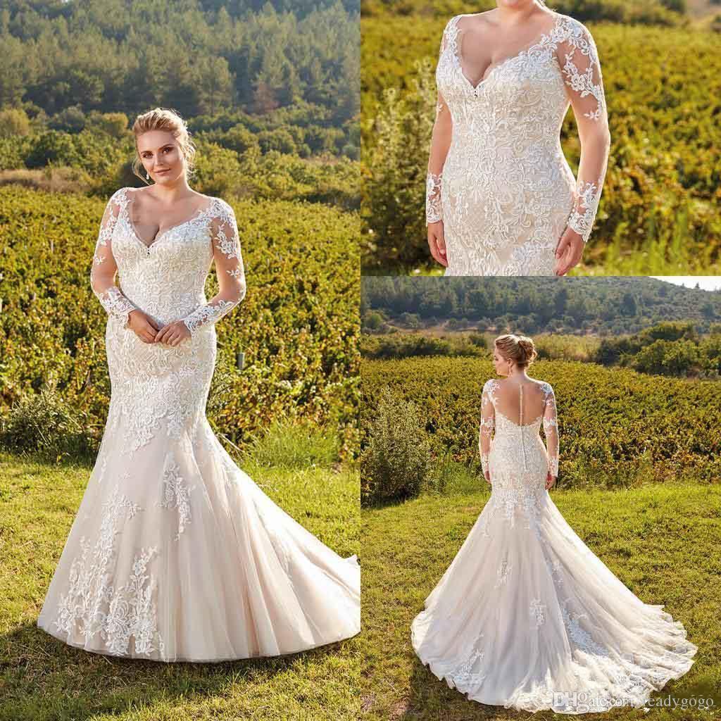Plus Size Mermaid Wedding Dresses 2019 Deep V Neck Lace Applique Long Illusion Sleeves Sweep Train Wedding Dress Bridal Gowns robe de mariée