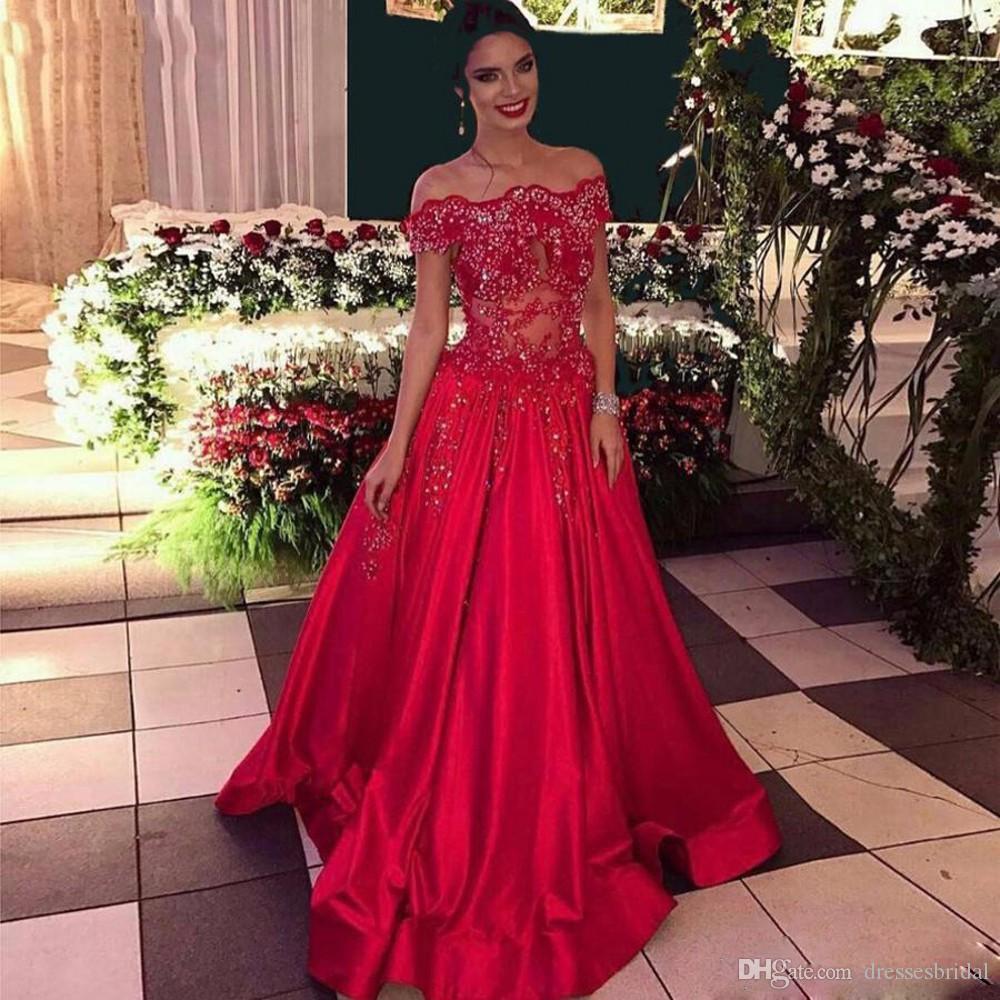 Étincelle Paillettes Perlée Robes De Bal 2019 A-ligne Col Bateau Hors Épaule Robe Habillée Femmes Longue Rouge Robes De Fête Satin