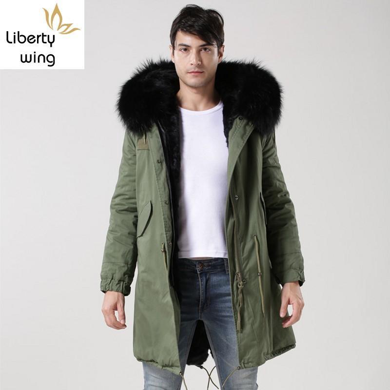 Doublure d'hiver épais Veste homme réel col de fourrure à capuchon Manteau Casual Male Loose Fit Pardessus Taille Plus Parkas