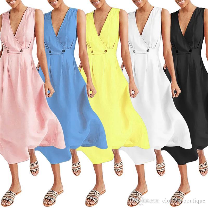 Kadın Yaz Sundress Spagetti Askı Düğmesi Aşağı Elbise