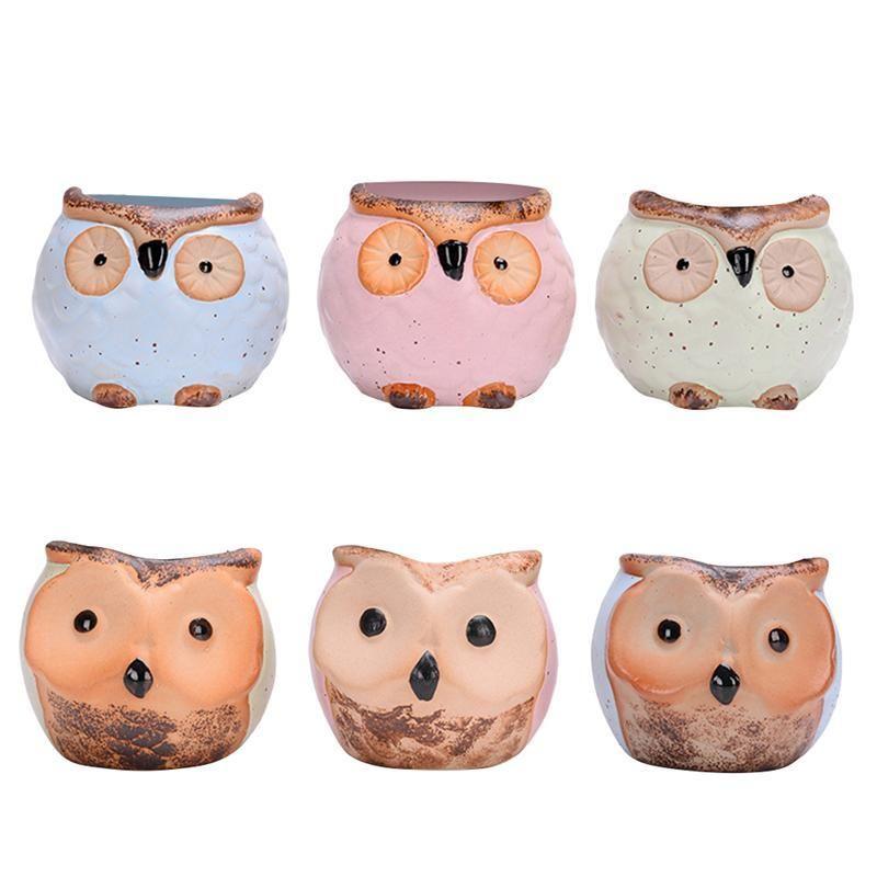 6pcs Creative adorable Belle Kawaii mignon hibou Mini en céramique Pots de fleurs Vase Flowerpot Fournitures Jardin CJ191226