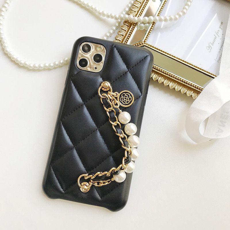 Arbeiten Sie Perlen Metallhandschlaufe Armband am Handgelenk Blume Anhänger weichem Lammleder-Kasten-Abdeckung für Iphone 11 Pro XS Max XR X 8 7 6 6S Plus-SE