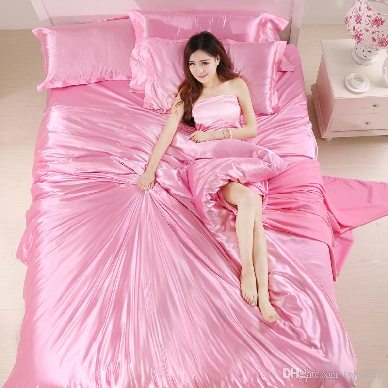 Beautiful 100% pure silk Duvet Cover Set Single Double King Size Solid pink color Comforter Cover Set for women of Quilt Cover