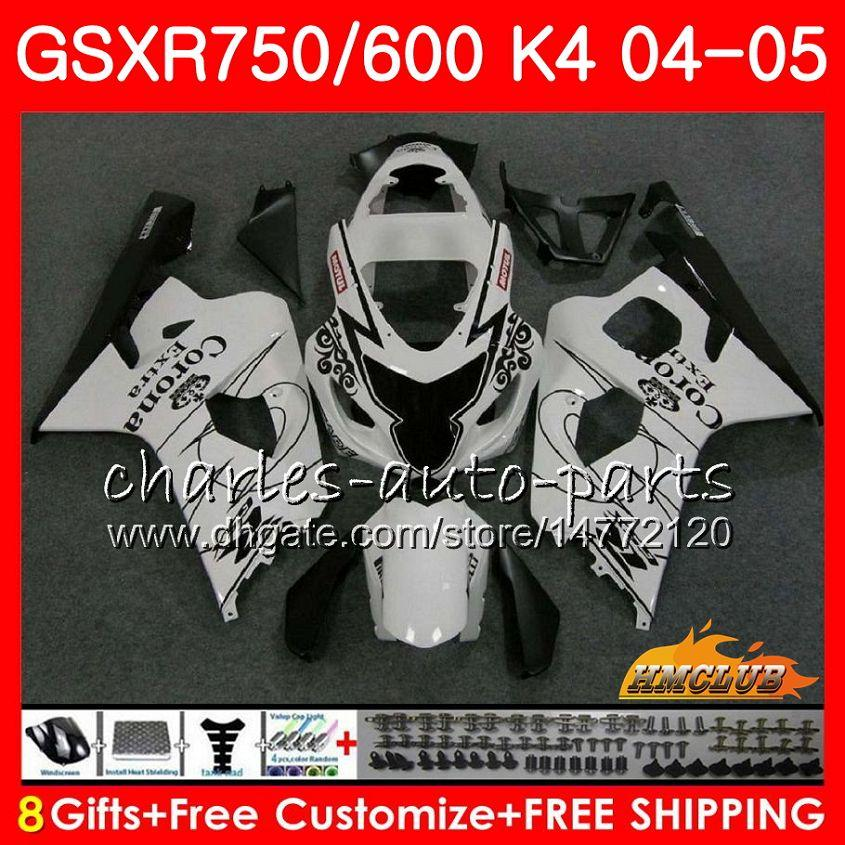 Bodys para a Suzuki GSXR 750 GSX R600 R750 GSXR600 2004 2005 7HC.20 GSXR 600 GSXR750 04 05 GSXR600 K4 GSXR750 04 05 branca da venda carenagens quentes