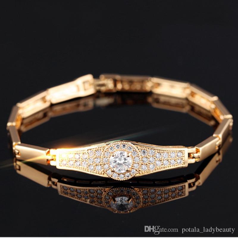 مثلج خارج سحر الصلب الماس ساعة هندسية 18 كيلو الذهب الفاخرة سخية هوب البوب مصمم للنساء الفتيات الذكرى مفاجأة سوار الهدايا