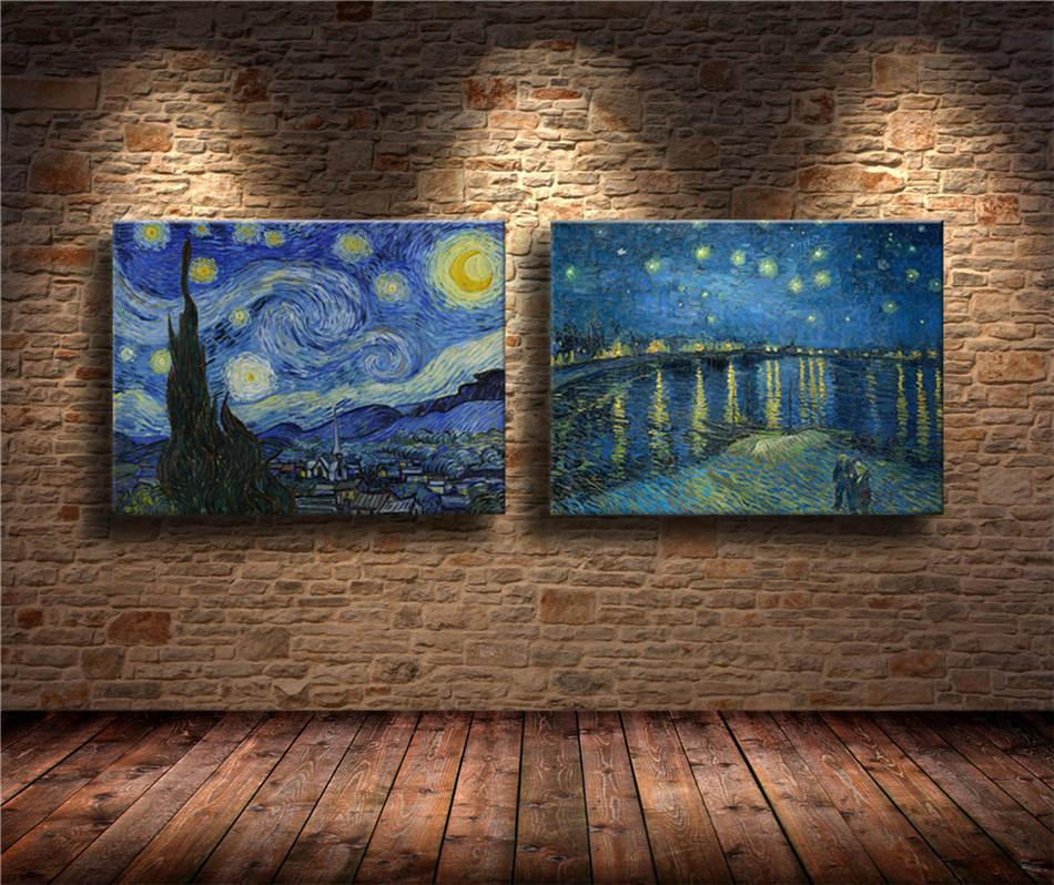The Starry Night par Vincent van Gogh,2 Pieces HD Canvas Print Home Decor Art Painting (Unframed/Framed)