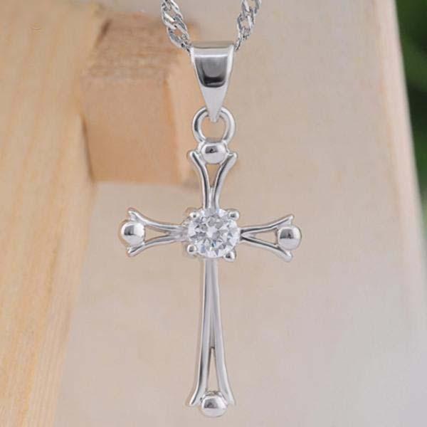 Оптовая продажа-модные стерлингового серебра 925 925S платиновым покрытием шикарный крест дизайн Кристалл кулон только кулон женщины девушка подарок