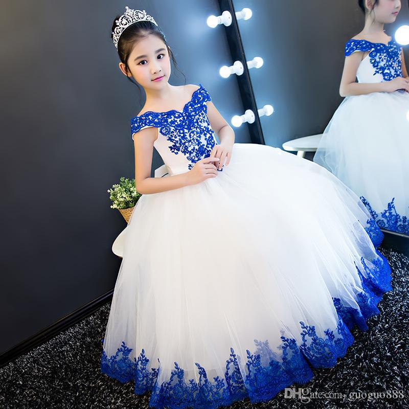 Nouvelle arrivée Princesse robes fille fleur pour Robe longue en dentelle de mariage Tulle enfants Stylistes filles Pageant Robes